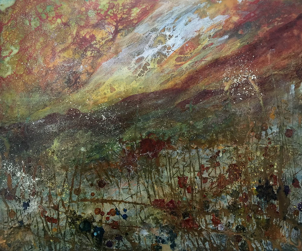 Encaustic Artwork created using wax and hot tools.  The image is of a magical late evening in a meadow