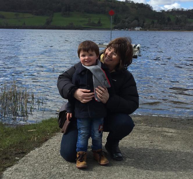 Mel and her Grandson at Bala Lake