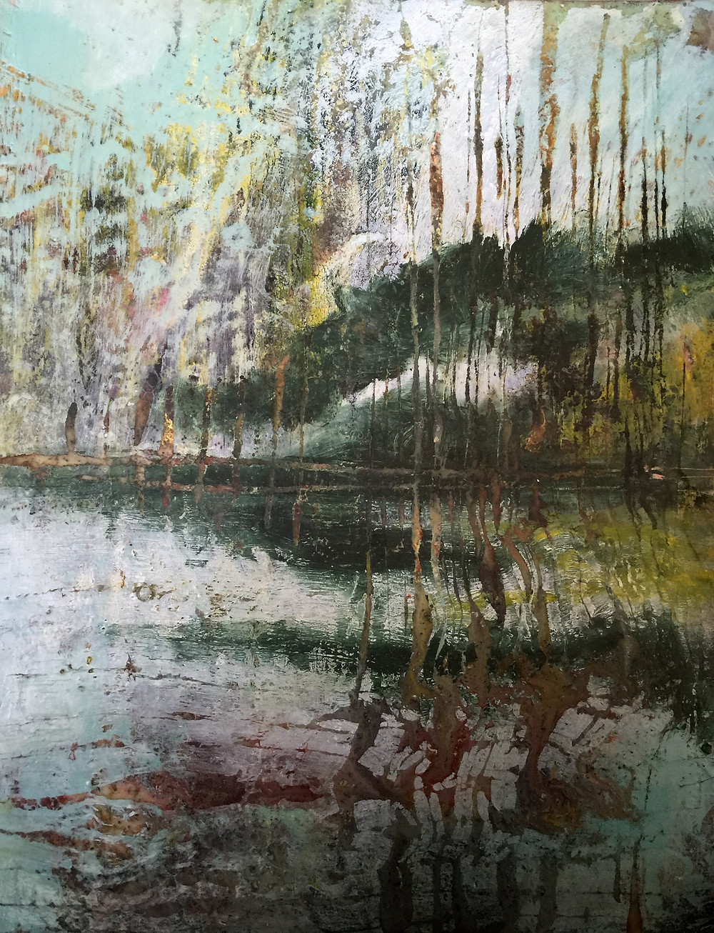 Encaustic artwork painted using hot tools and hot wax.  The image is of a mirage over a lake