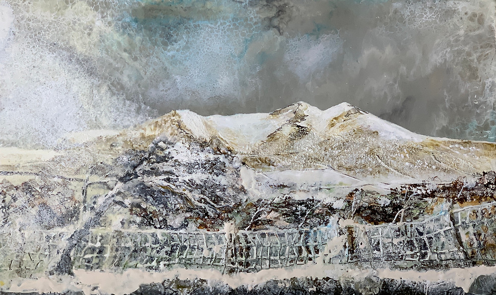 An encaustic painting by Melanie Williams of Arenig Fawr in the Snow