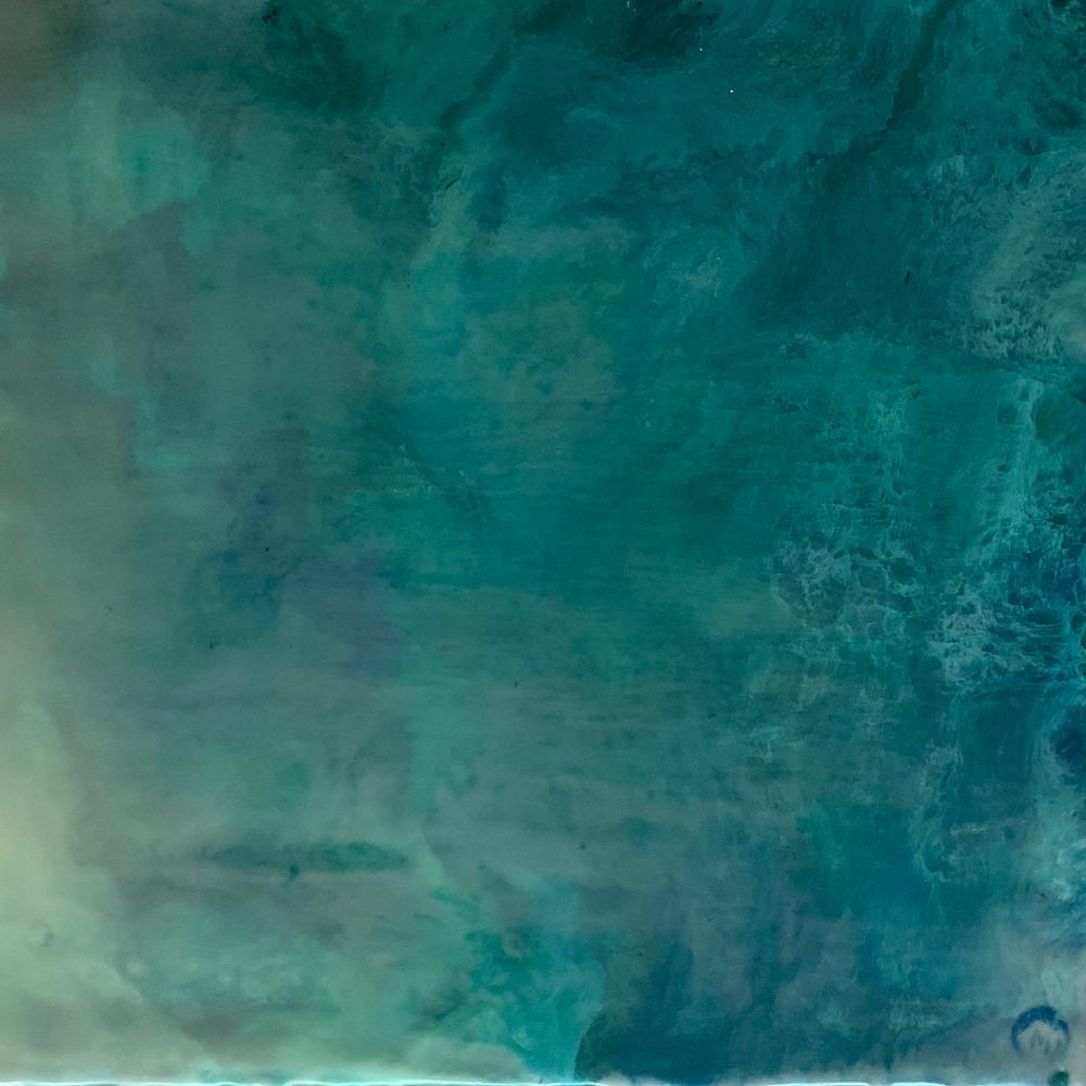 An encaustic image of calm sea water