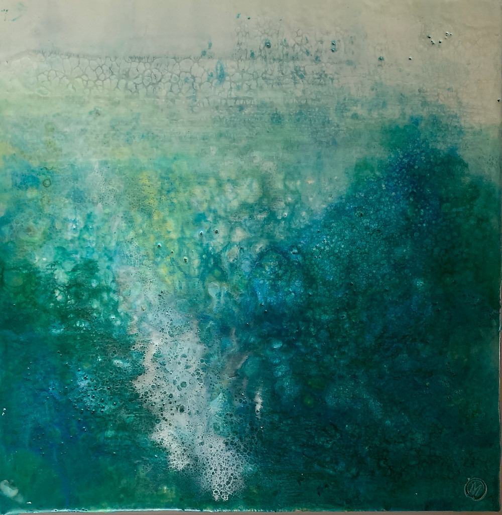 An encaustic image of bubbles under the surface of the sea