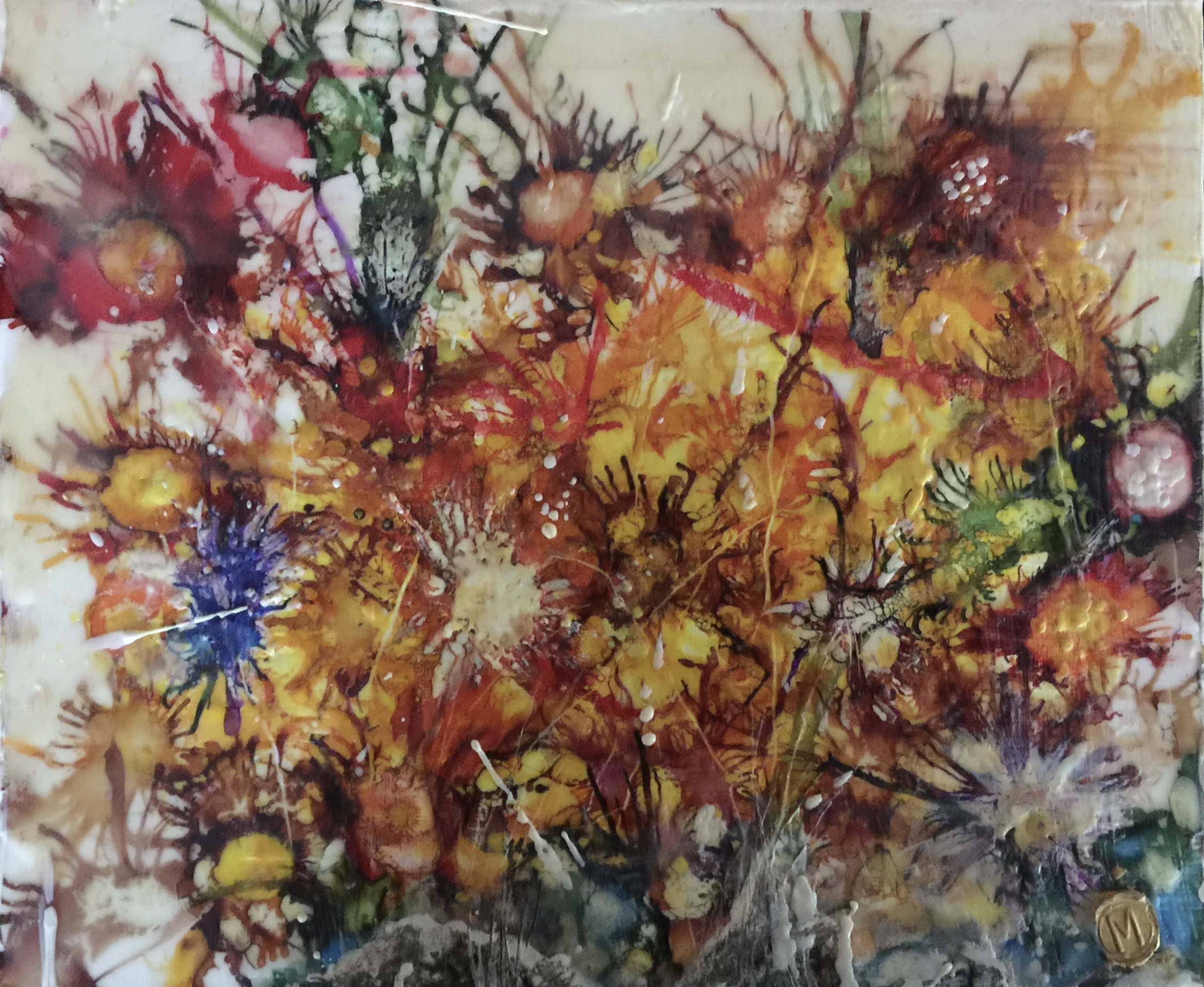 Encaustic and Mixed Media flowers