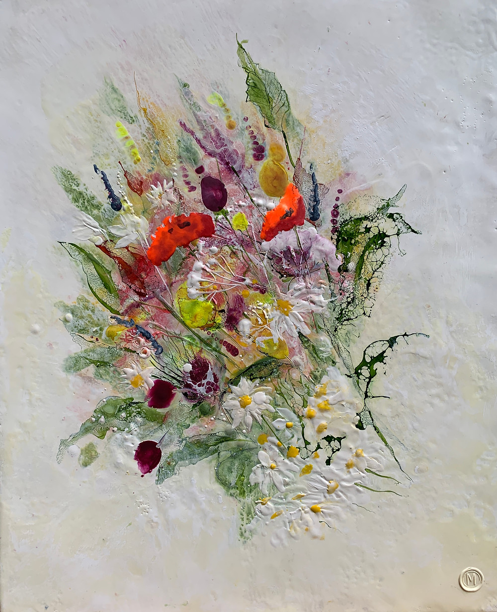Bouquet of flowers in encaustic wax