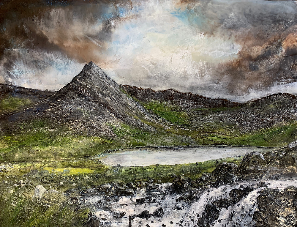 Tryfan Mountain.  Encaustic Painting