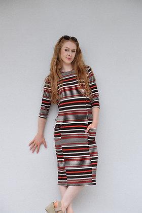Brown Striped Pocket Tube Dress