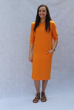 Orange Pocket Tube Dress