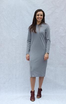 Grey Zip Up Dress