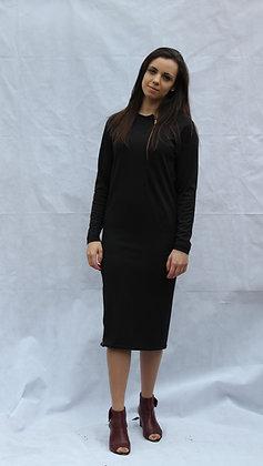 Black Floral Print Zip Up Dress