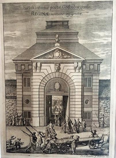 Drottningporten i Göteborg sedd infrån, av Erik Dahlberg, 1711