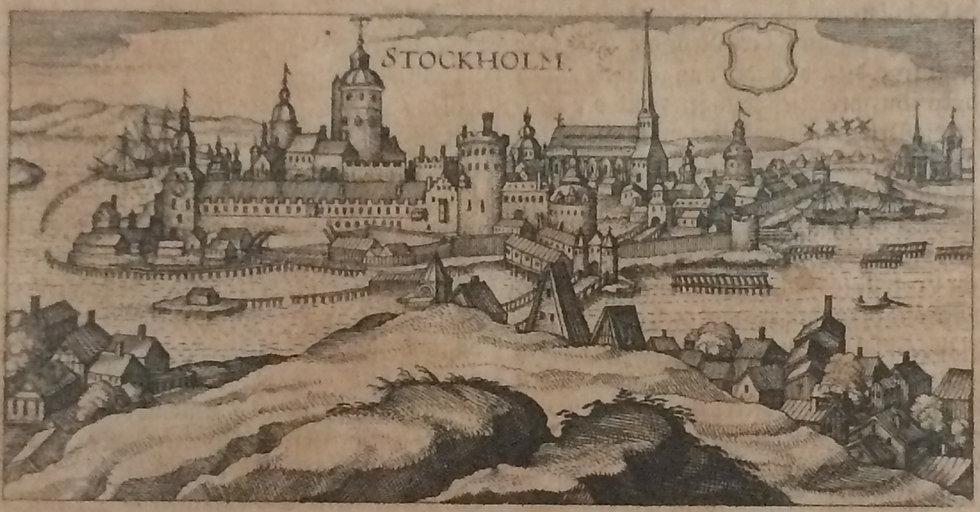 """Boksida, bild över Stockholm från Södermalm, ur """"Inventarium Sveciae"""", 1632"""