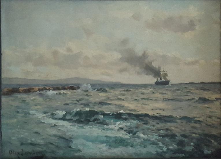 Oljemålning, fartyg i fjärran, Olof Jernberg