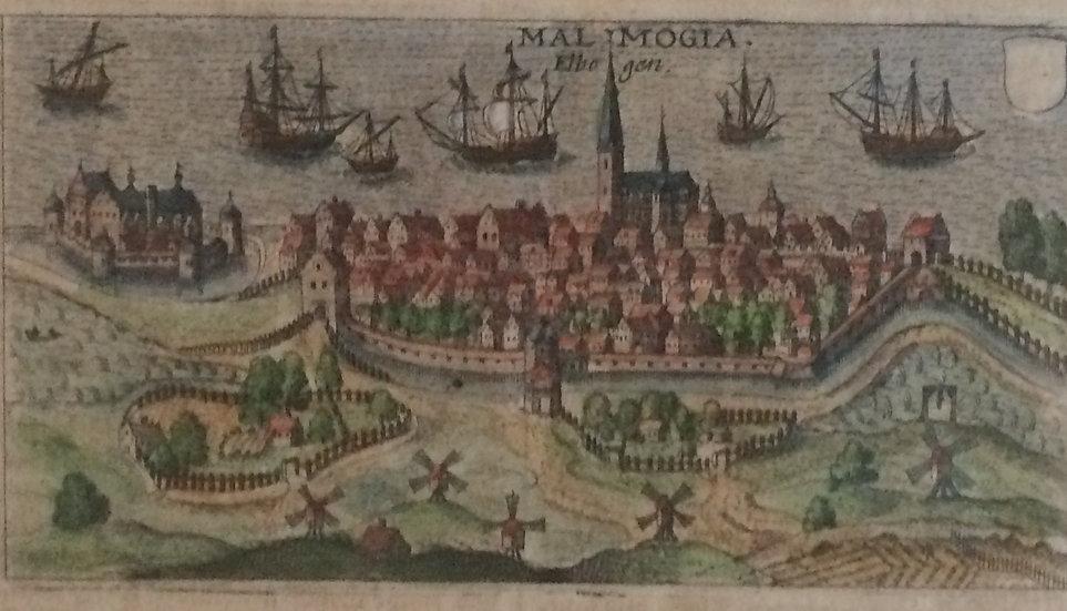 """Handkolorerard boksida med bild av Malmö, ur """"Inventarium Sveciae"""", 1632"""