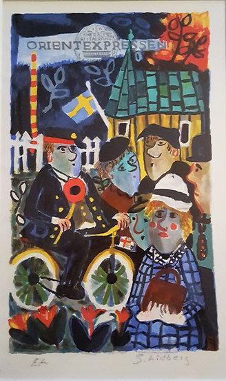 "Litografi, ""Orientexpressen"", Sven Lidberg (1929-2009)"