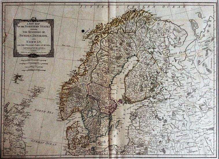 Karta; stor engelsk karta över Skandinavien, Thomas Kitchin, 1794