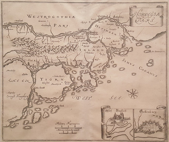 Karta över Göteborgs omland, Matthaeus Merian, 1680