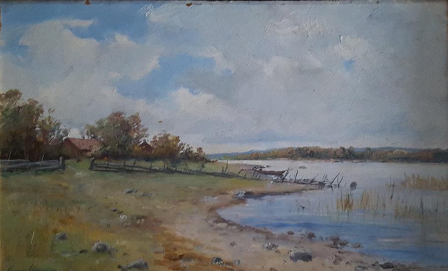 Oljemålning, idylliskt sjölandskap, Konrad Simonsson (1843-1901)