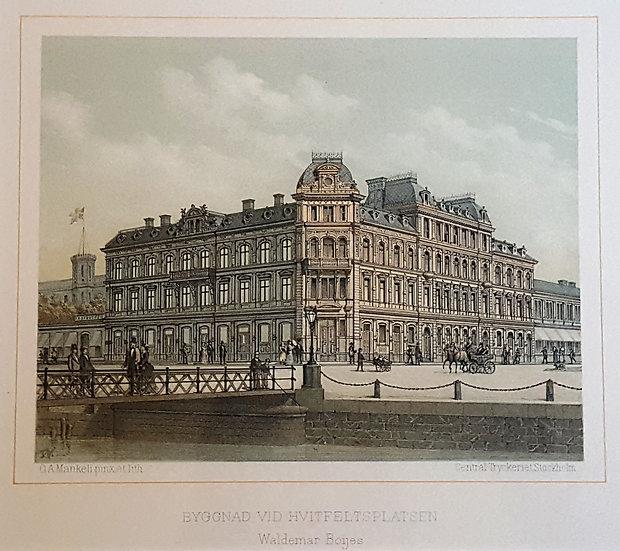 Litografi, byggnad vid Hvifeltsplatsen i Göteborg, Oscar A. Mankell, 1884