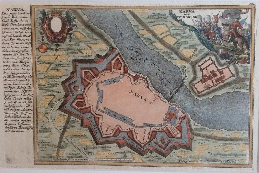 Narva fästning under slaget,  Gabriel Bodenehr, Peter I