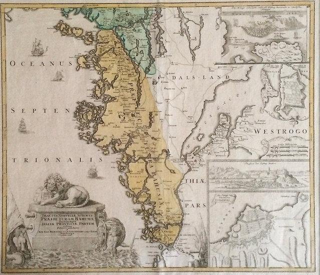 Karta, Bohuslän och vinjetter över Göteborg, Bohus och Marstrand, Homann, 1729