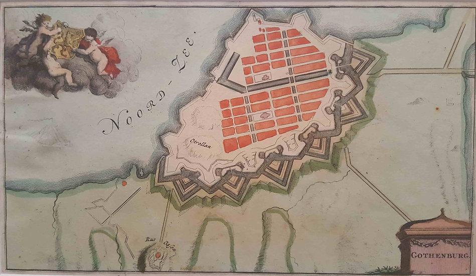 karta över Göteborg, David Weege, 1706