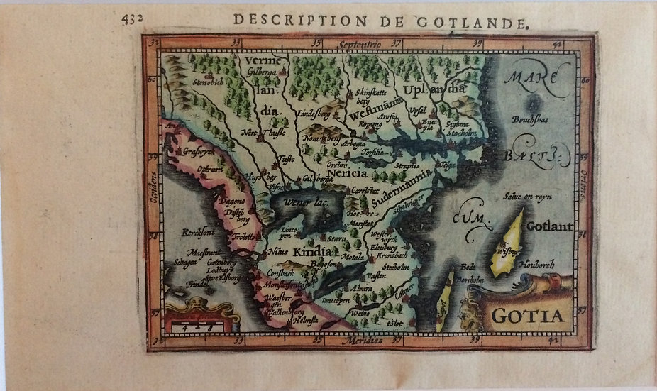 "Karta över Götaland (Gotia), ur ""La Geographie Racourcie"", av J. Hondius, 1618"