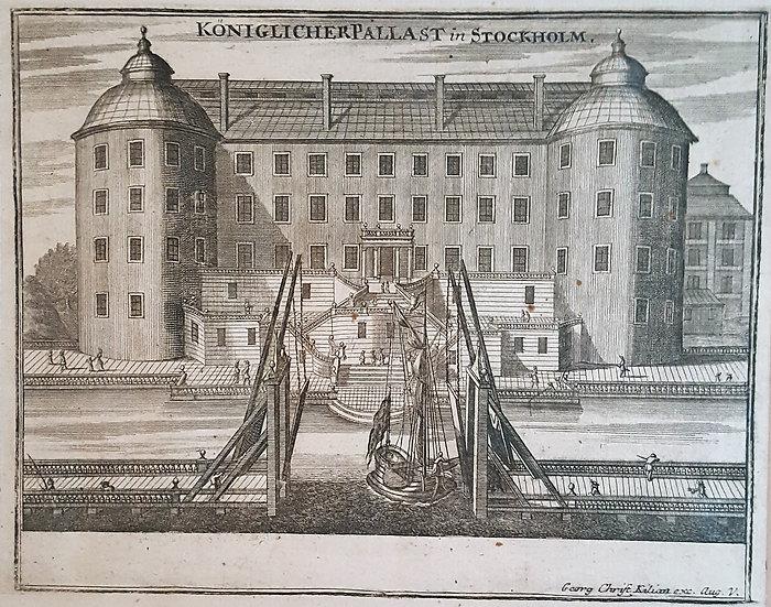 Träsnitt, Slottet Tre Kronor, Gabriel Bodenehr 1720