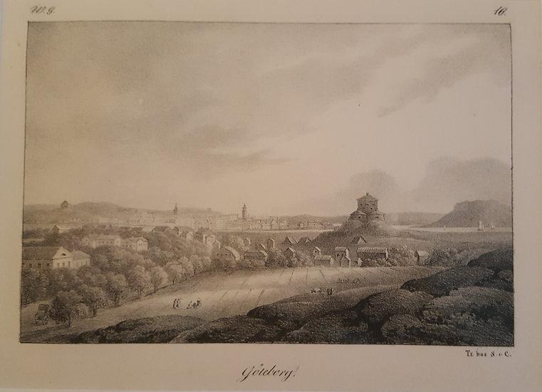 Kopparstick, vy över Göteborg från Skansen Lejonet, W G Palm, 1800-talet