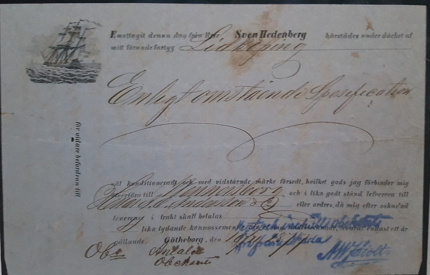 Fraktsedel för skeppet Lidköping utfärdad i Göteborgs hamn 1877