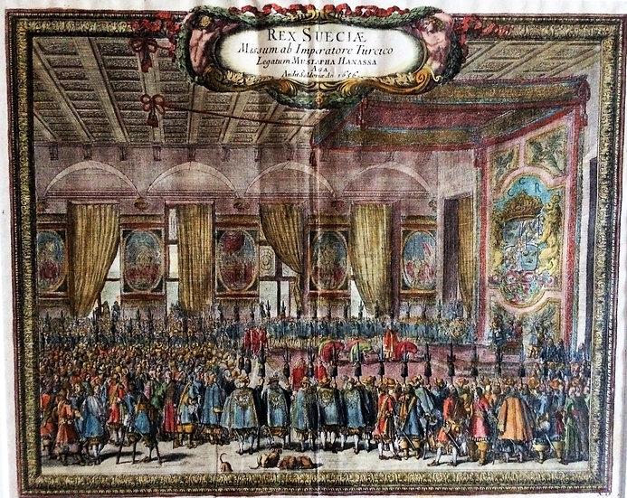 Kopparstick; sändebudet Hanassa mottas av Karl X 1656, Erik Dahlberg 1696