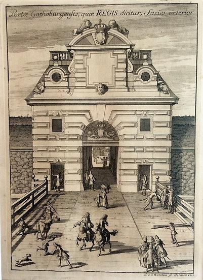 Kungsporten i Göteborg sedd utifrån, av Erik Dahlberg, 1711