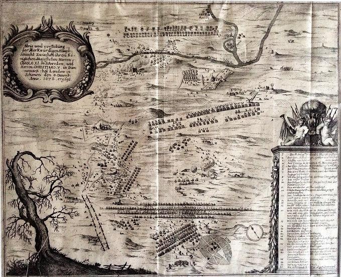 Karta, slaget vid Lund 4 december 1676, Matthaeus Merian 1680