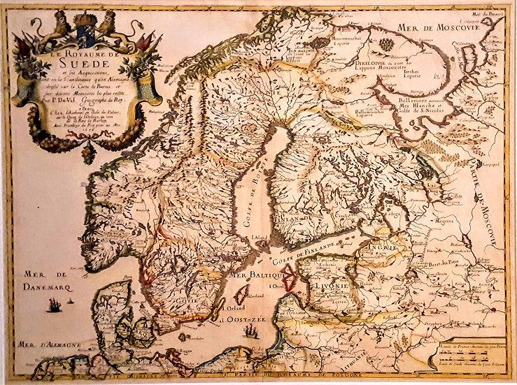 Karta, Konungariket Sverige och dess erövringar, Pierre Du-val 1676