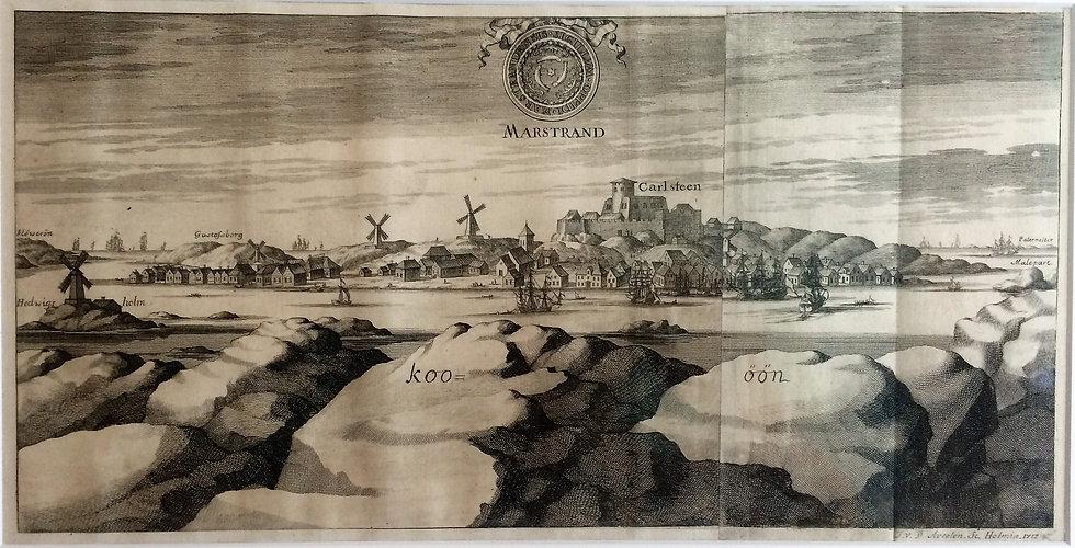 """Marstrand och Carlstens fästning, ur Erik Dahlbergs """"Suecia antiqua et hodierna"""", 1713"""