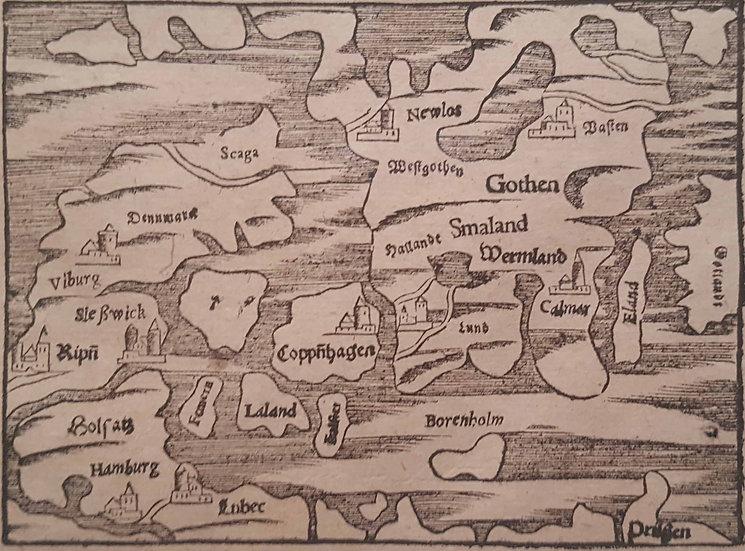 Karta som visar Nya Lödöse, Sebastian Münster, 1580