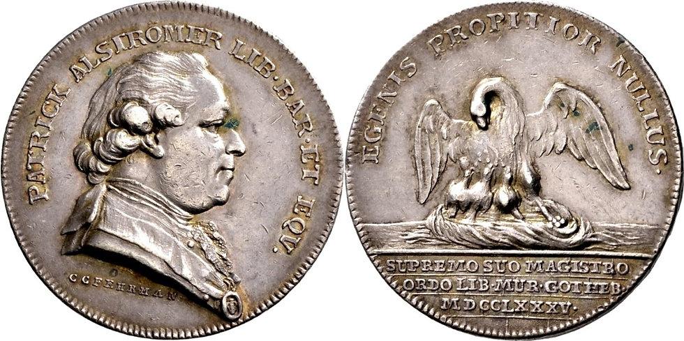 Silvermedalj från frimurarlogen 'Salomon à trois serrures' i Göteborg, 1785