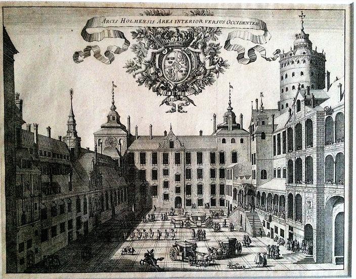 Kopparstick, Slottet Tre kronors borggård, Erik Dahlberg ca 1790