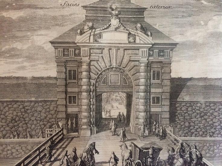 Kopparstick, Drottningporten i Göteborg sedd utifrån, av Erik Dahlberg, 1711