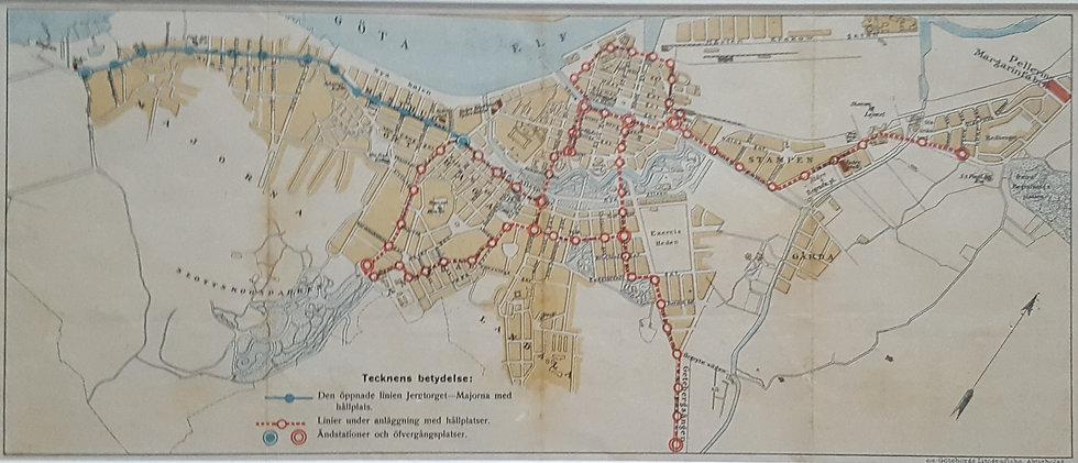 Sällsynt karta över Göteborgs spårvägar, 1902