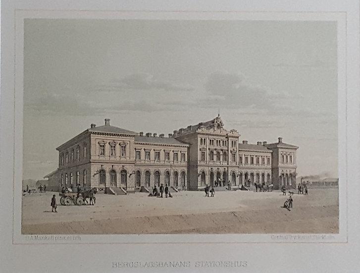 Litografi, Bergslagsbanans stationhus i Göteborg, Oscar A. Mankell, 1884