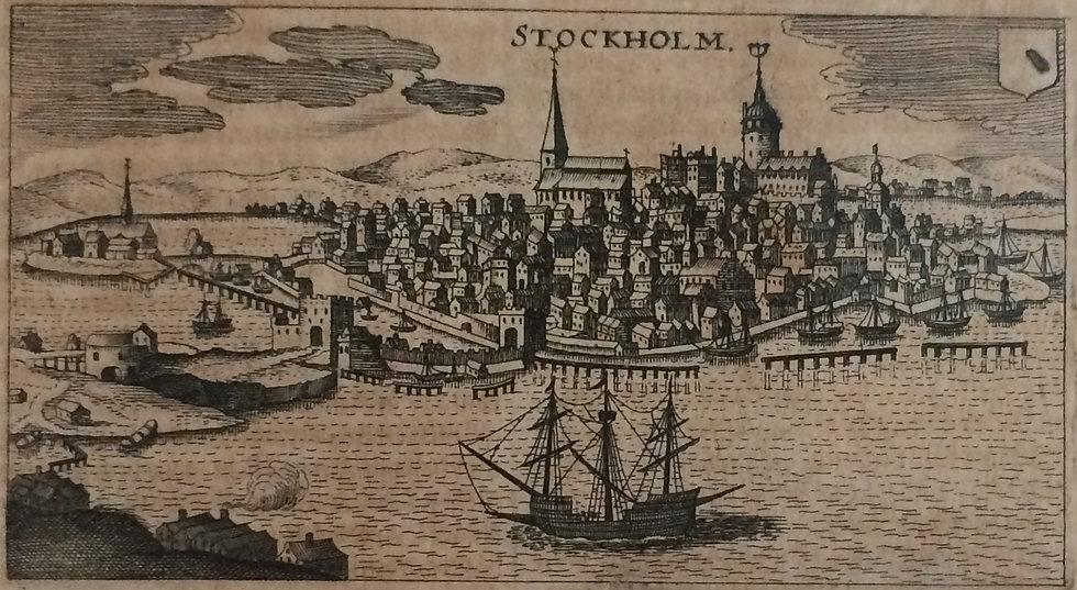 """Boksida med bild över Stockholm och dess hamn, ur """"Inventarium Sveciae"""", 1632"""