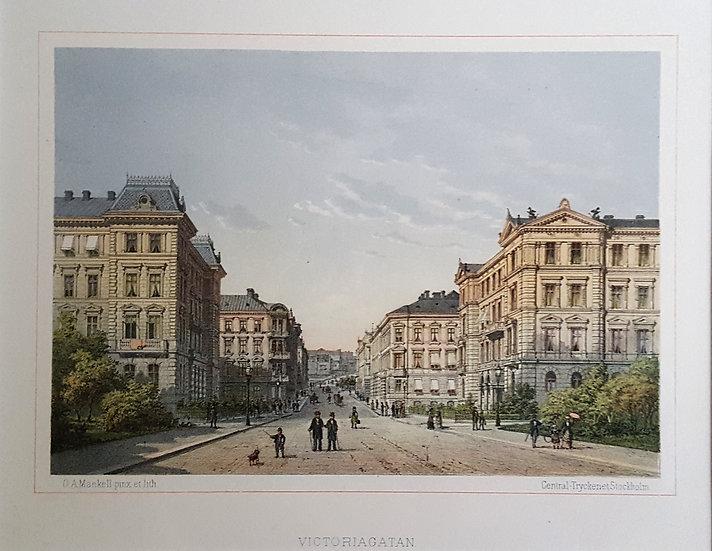 Litografi, Victoriagatan i Göteborg, Oscar A. Mankell, 1884
