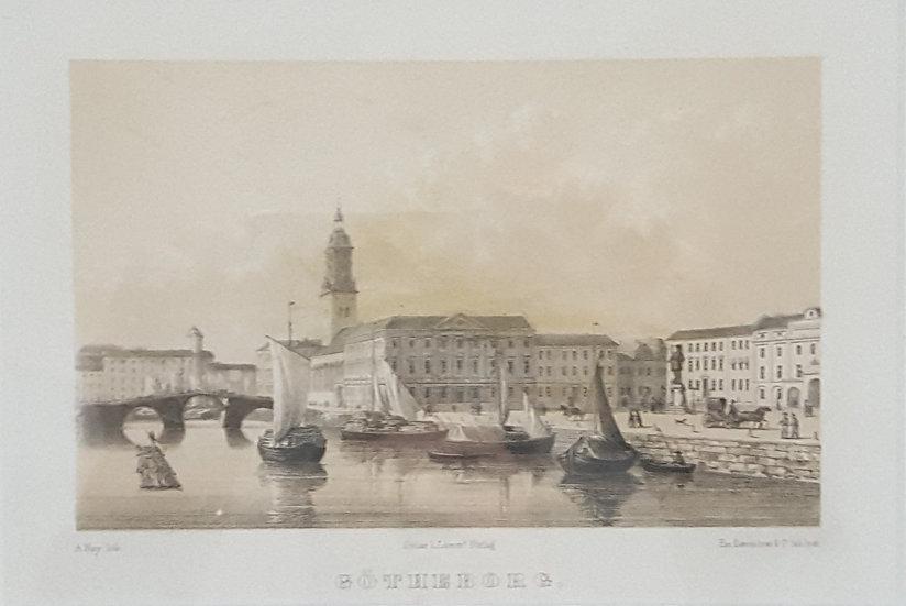 Litografi, Gustav Adolfs torg i Göteborg, A Nay, 1840
