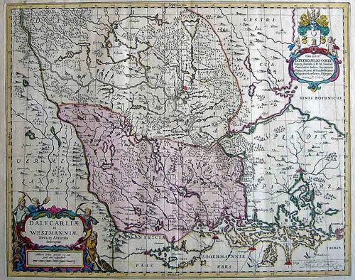 Karta över Uppland och Västmanland från 1705.