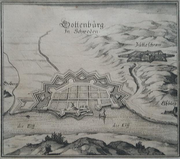 Karta över Göteborg och dess omnejder, Mattheaus Merian, 1693