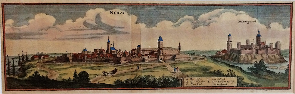Vy över Narva och Ivanograd, Mattheaus Merian, 1650