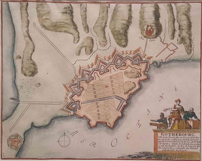 Karta över Göteborg och dess hamn, Nicolas De Fer, 1693