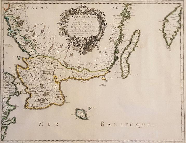 karta över Skåne, Blekinge och Halland, Nicolas Sanson, 1659