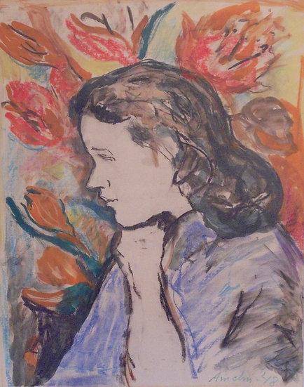 """Albert Amelin, """"Flicka med Blommor"""""""