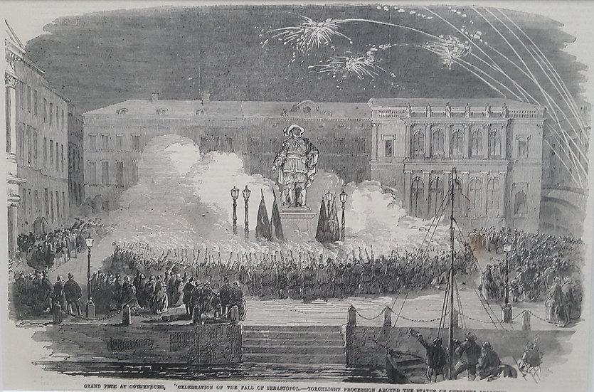 Göteborgs studenter firar Sevastopols fall, Illustrated London News, 1855
